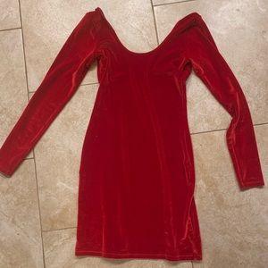Sexy red velvet body con dress